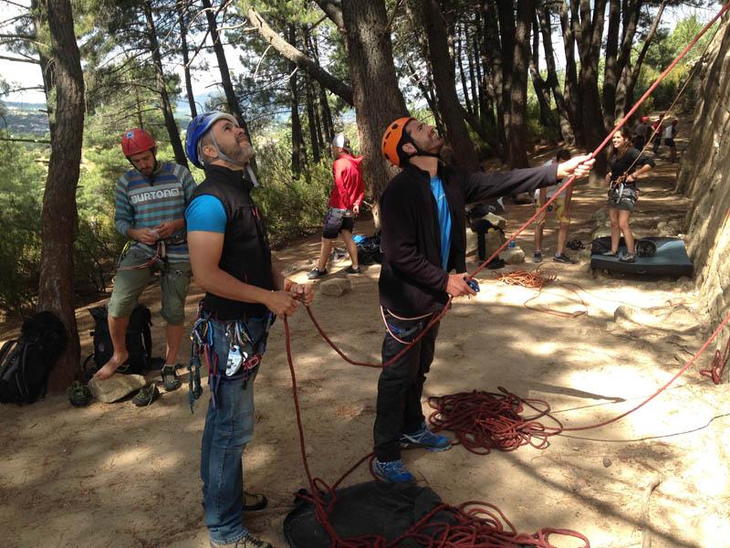 Rock Climbing in Madrid with Dreampeaks. rock climbing in La Pedriza